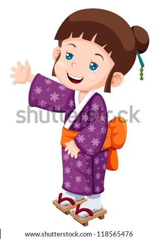 illustration of Cute little japanese girl.Vector