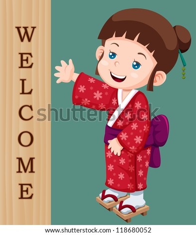 illustration of Cute little japanese girl with Welcome sign - stock vector