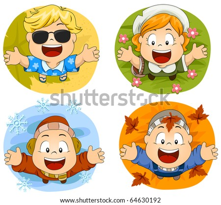 Illustration of Cute Little Kids Representing the Four Seasons - stock vector