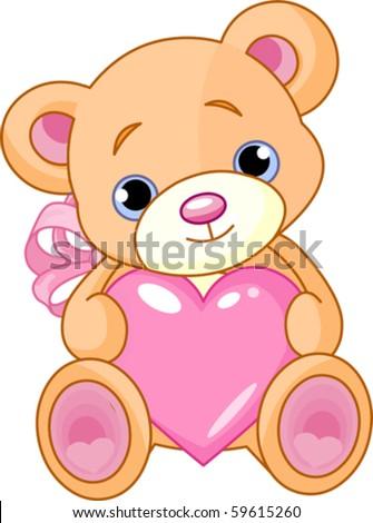 Illustration of cute little teddy bear holding pink heart stock