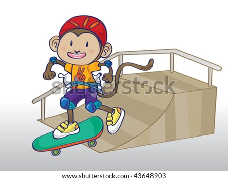 Illustration of cute monkey boy skating on a ramp wearing lots of safety gear: knee pads, elbow pads, a helmet and a pillow tied to his behind for extra protection (the pillow can be easily removed). - stock vector