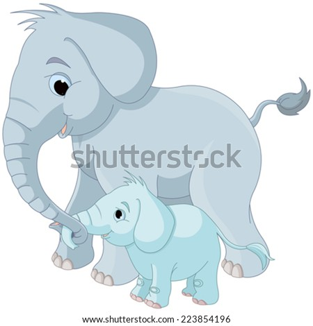 Illustration of cute mother and baby elephant  - stock vector