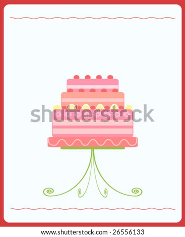 Illustration of cute pink wedding cake - stock vector