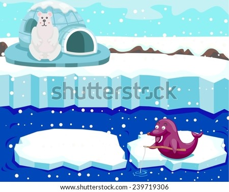 illustration of cute polar bear watching seal fishing
