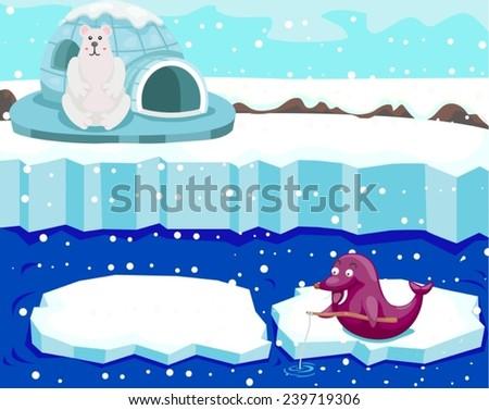 illustration of cute polar bear watching seal fishing  - stock vector