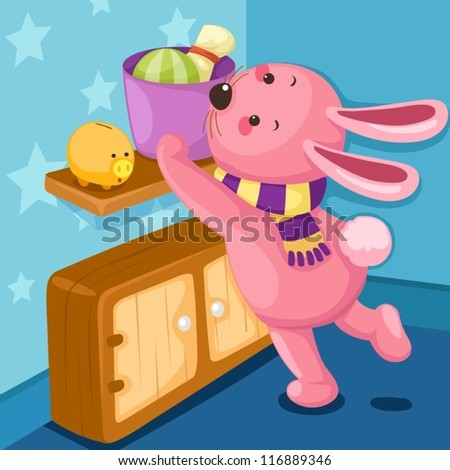 illustration of cute rabbit in blue room - stock vector
