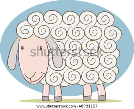 Illustration of cute sheep - stock vector