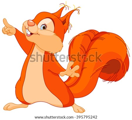 Illustration of cute squirrel pointing up