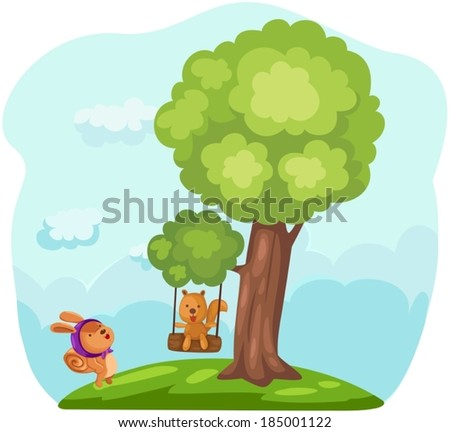 illustration of  cute squirrels playing tree swing - stock vector