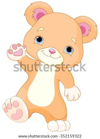 Illustration of cute Teddy Bear walks - stock vector