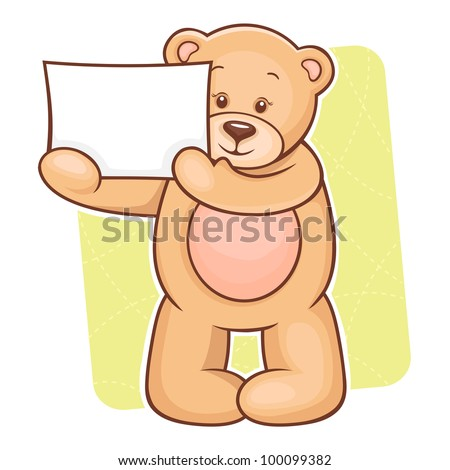 Illustration of cute Teddy Bear with sign for your text. - stock vector
