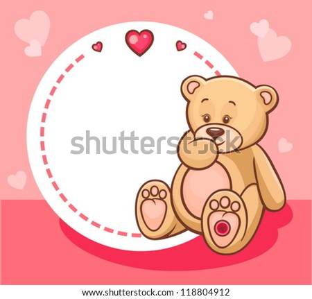 Illustration of Cute Valentine Teddy Bear with sign.