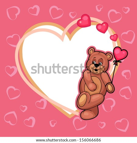 Illustration of Cute Valentine Teddy Bear with sign. - stock vector
