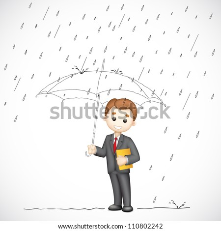 illustration of 3d business man in vector under umbrella in rainy day - stock vector