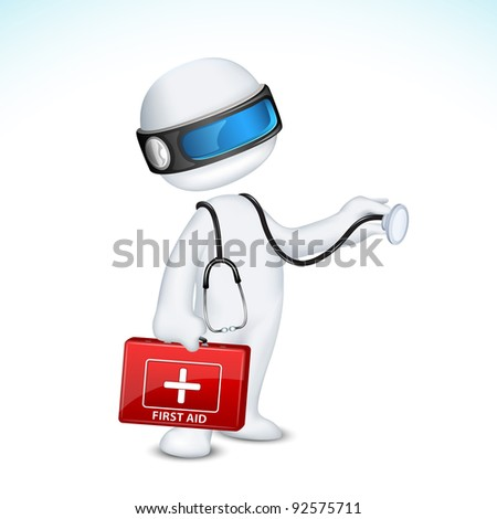 illustration of 3d doctor in vector fully scalable standing with first aid box and stethoscope - stock vector