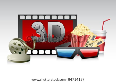 illustration of 3d glasses with film stripe and pop corn - stock vector