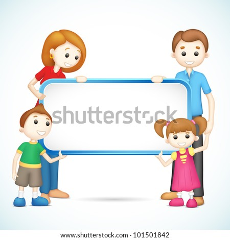 illustration of 3d happy family in vector fully scalable holding placard - stock vector