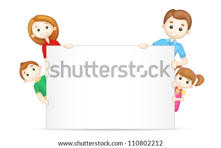 illustration of 3d happy family in vector peeping behind blank board - stock vector