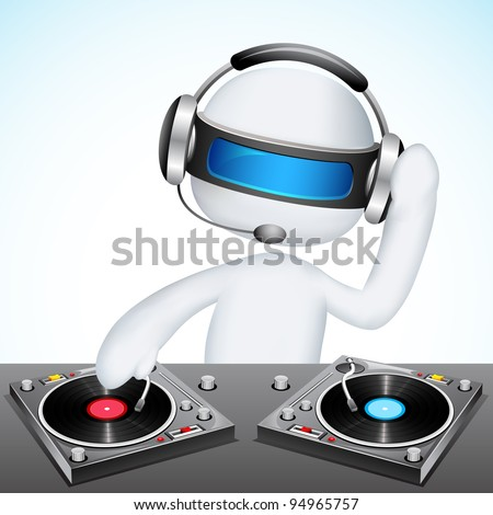 illustration of 3d jockey in vector fully scalable mixing song - stock vector