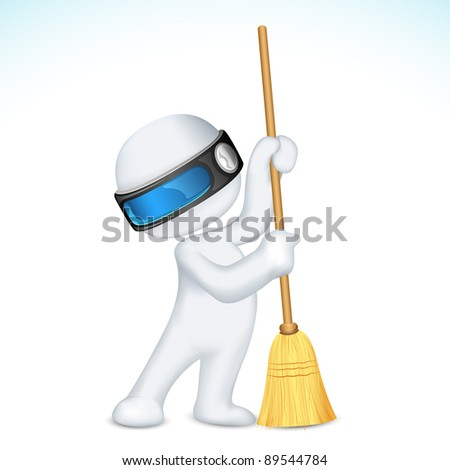 illustration of 3d man in vector fully scalable holding broom - stock vector