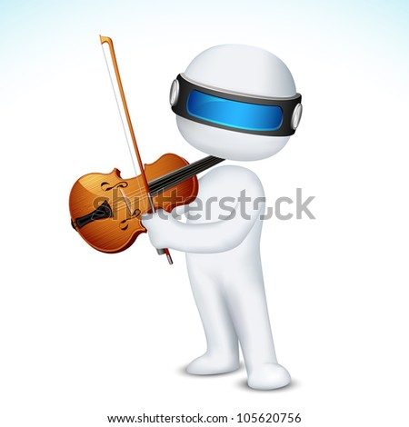 illustration of 3d man in vector fully scalable playing violin - stock vector