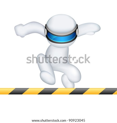illustration of 3d man in vector fully scalable running in hurdle race - stock vector