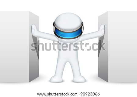 illustration of 3d man in vector fully scalable standing between wall - stock vector