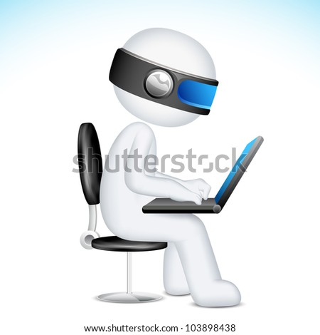 illustration of 3d man in vector fully scalable working on laptop