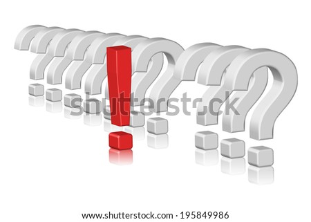 Illustration of 3D question marks and exclamation mark
