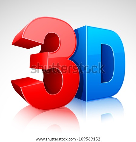 illustration of 3D word written in red and blue color - stock vector