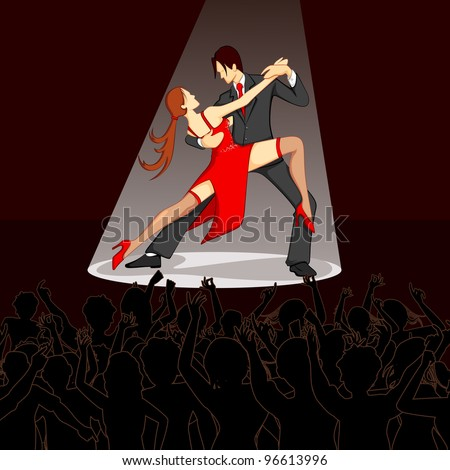 illustration of dancer performing salsa on stage with cheering crowd - stock vector