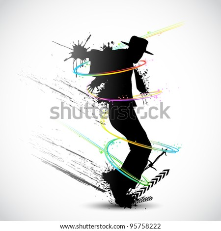 illustration of dancer with grunge and colorful swirl - stock vector