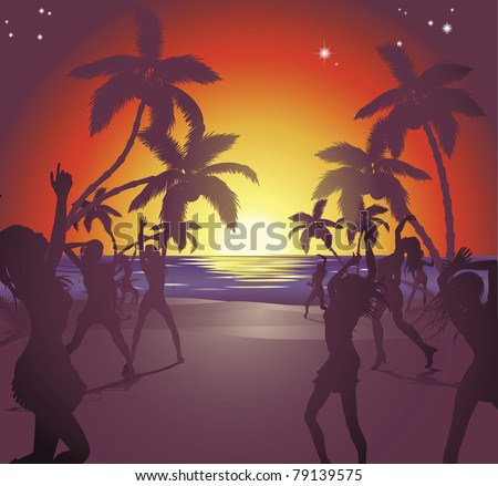 Illustration of dancers on the beach at sunset enjoying a party.