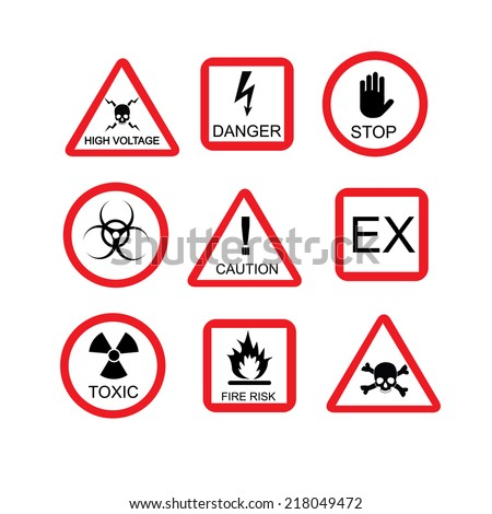 Illustration of danger sign, risk, dangerous situation, caution, warning, hazard, safety, warning sign - stock vector