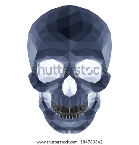 Illustration of dark crystal skull on white background - stock vector