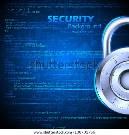 illustration of data security concept with lock on coding background - stock vector