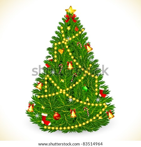 illustration of decorated christmas tree with star and ball - stock vector