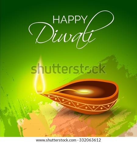 illustration of decorated Diwali diya on beautiful background. - stock vector