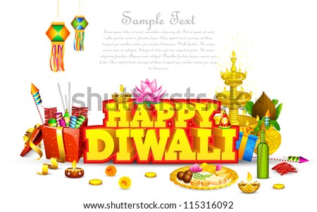 illustration of decorated diwali diya with gift box and sweet - stock vector