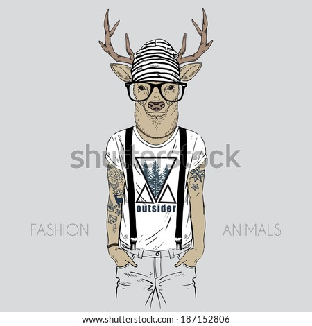 Illustration of deer dressed up in t-shirt with quote - stock vector