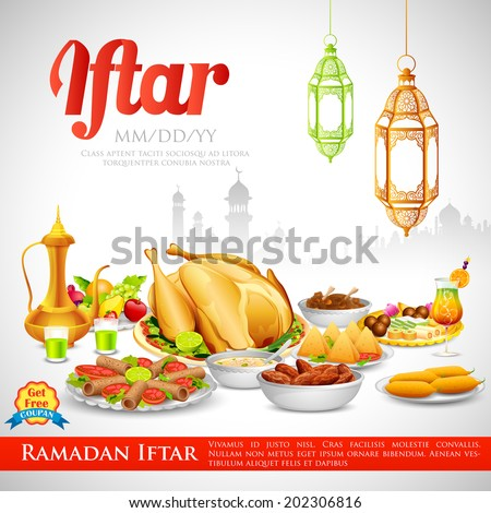 illustration of delicious dishes for Iftar party - stock vector
