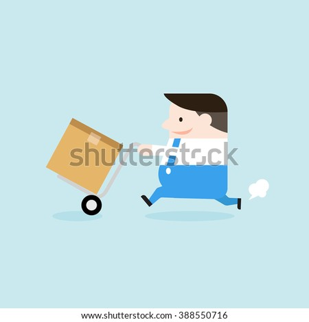 Illustration of delivery man carrying boxes. Vector illustration flat style. - stock vector