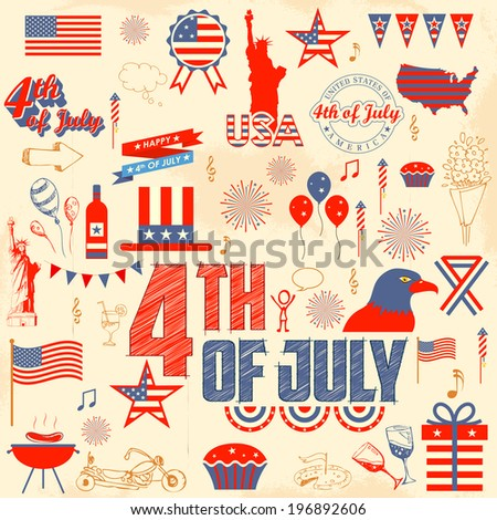 illustration of design element for 4th of July - stock vector