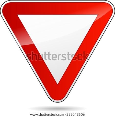 illustration of design yield triangular road sign - stock vector