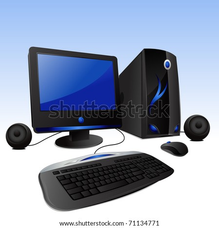 illustration of desktop computer set on isolated background - stock vector