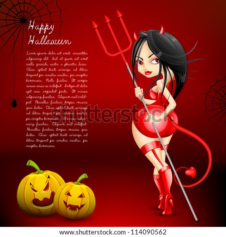 illustration of devil witch with Halloween pumpkin - stock vector