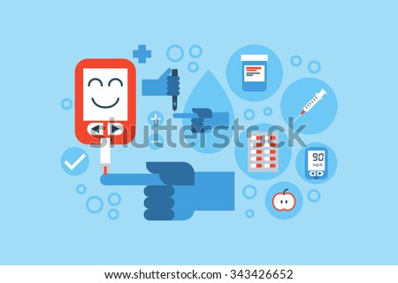 Diabetes symptoms composition with flat design Free Vector