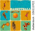 illustration of different basket ball action in collage background - stock vector