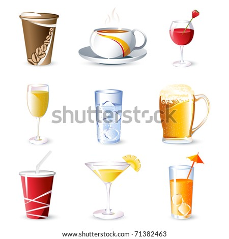 illustration of different beverages on isolated background - stock vector