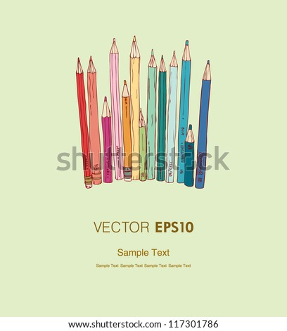 Illustration of different colorful pencils and place for your text. Background with hand drawn linear illustration and sample text, template for design and decoration - stock vector